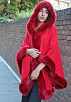 Ladies Women Luxurious Celeb Towe Thick Faux Fur Trimmed Hooded Shawl Cloak Poncho Cape