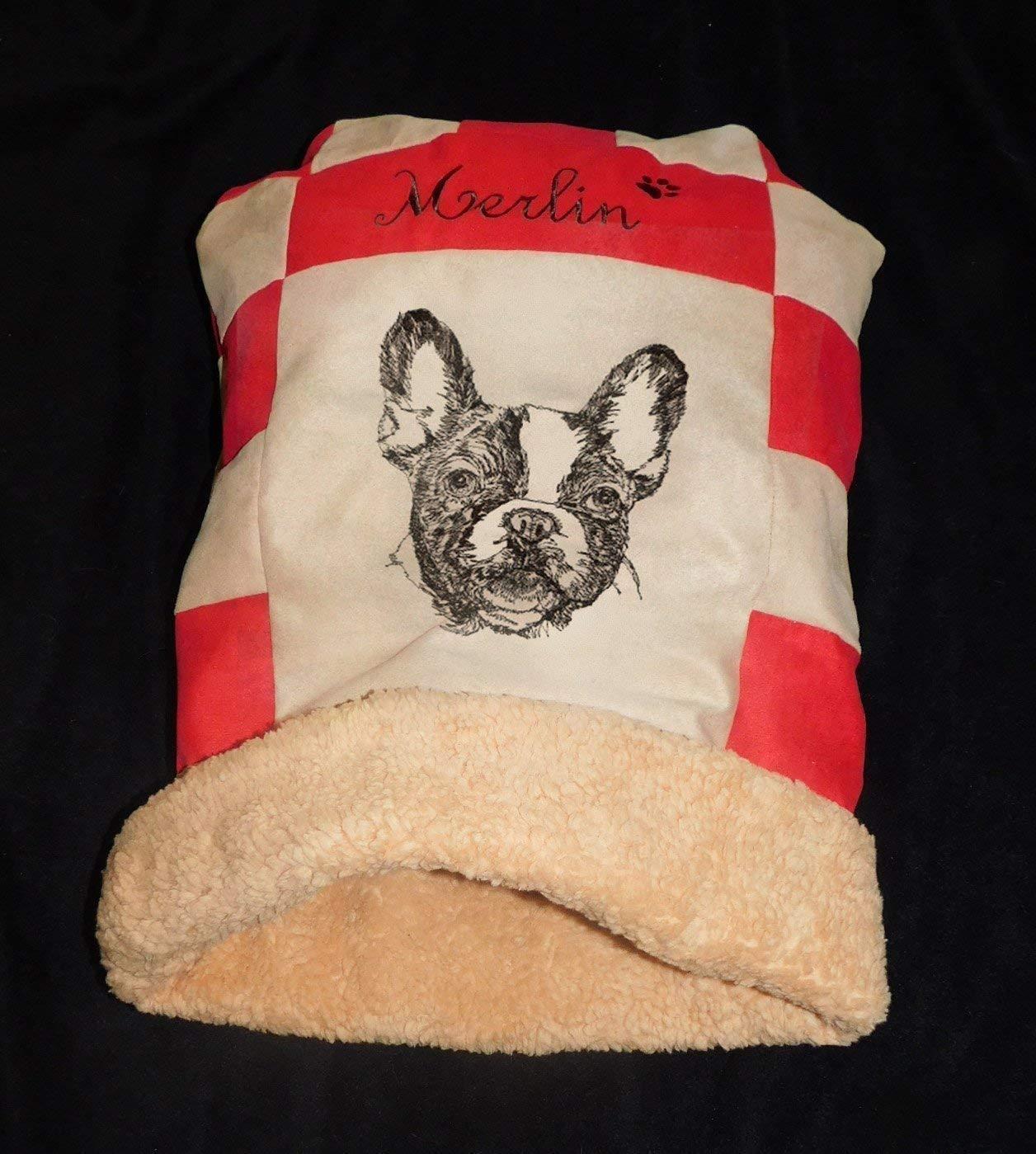 LunaChild Hunde Kuschelhöhle Französische Bulldogge 2 Hundebett Größe S M L oder XL Name Snuggle Bag in vielen Farben erhältlich