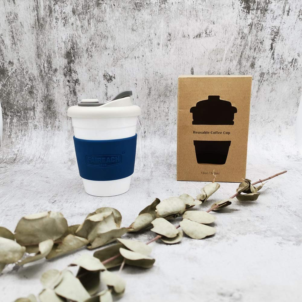 Reusable Coffee Cup with Lid 12oz / 340ml, Faireach Eco Coffee Travel Mug with Non-Slip Sleeve, Takeaway Coffee Tumbler, BPA Free, Dishwasher & Microwave Safe, Navy Blue