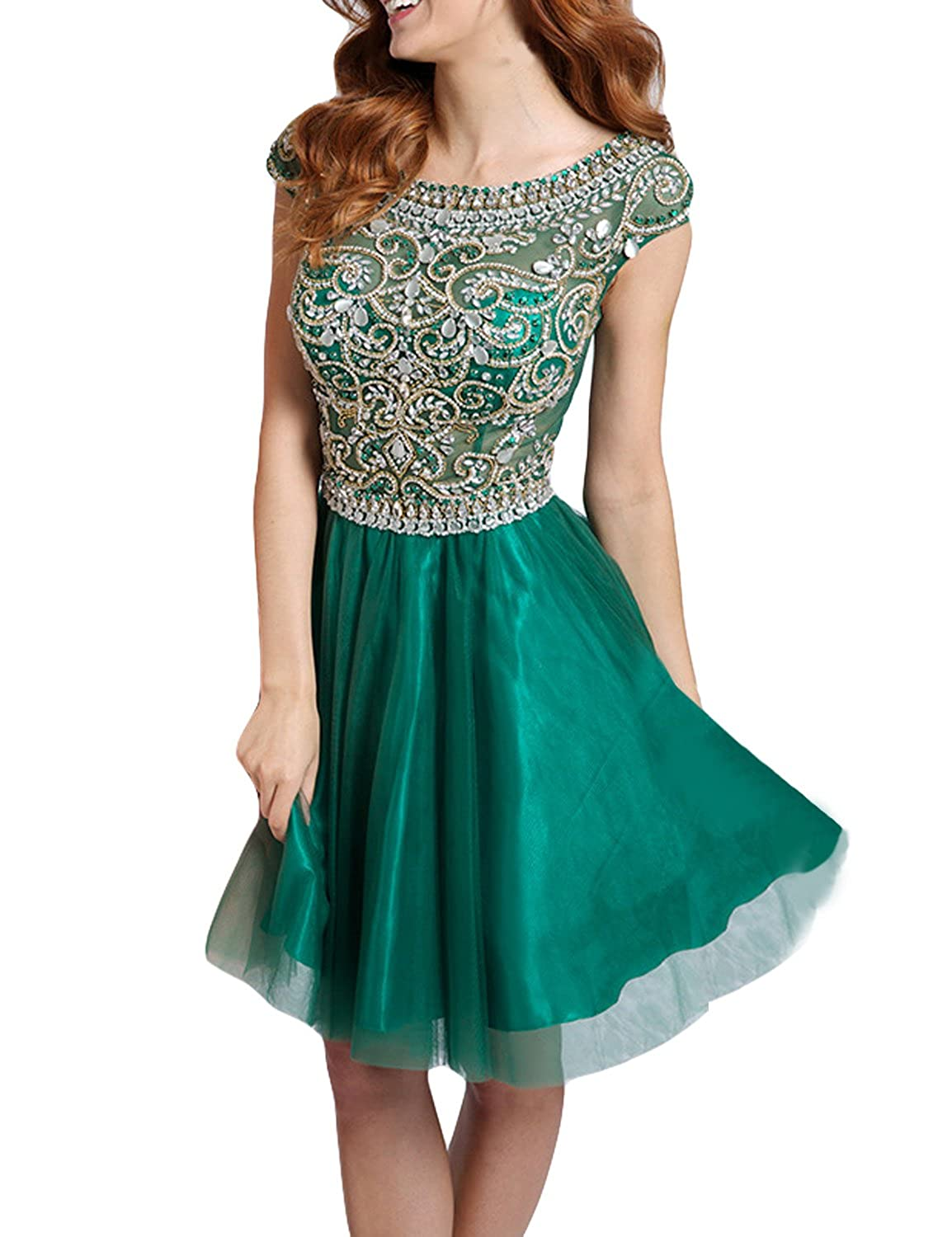 SeasonMall Women's Short Prom Dresses A Line Scoop Tulle Homecoming Dresses