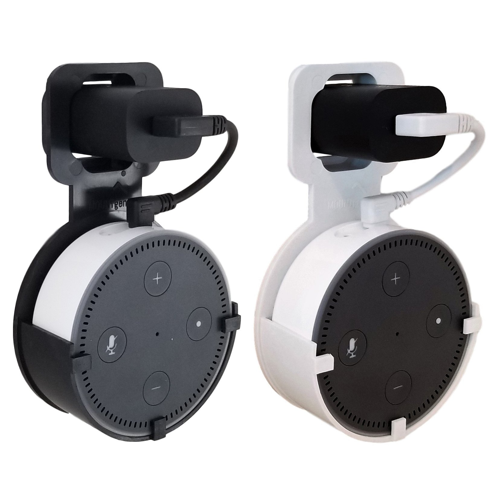 The Spot by Dot Genie: The Original Outlet Wall Mount Hanger Stand for Home Voice Assistants - Designed in USA - No Messy Wires or Screws - Multiple Colors (Black & White 2-Pack)