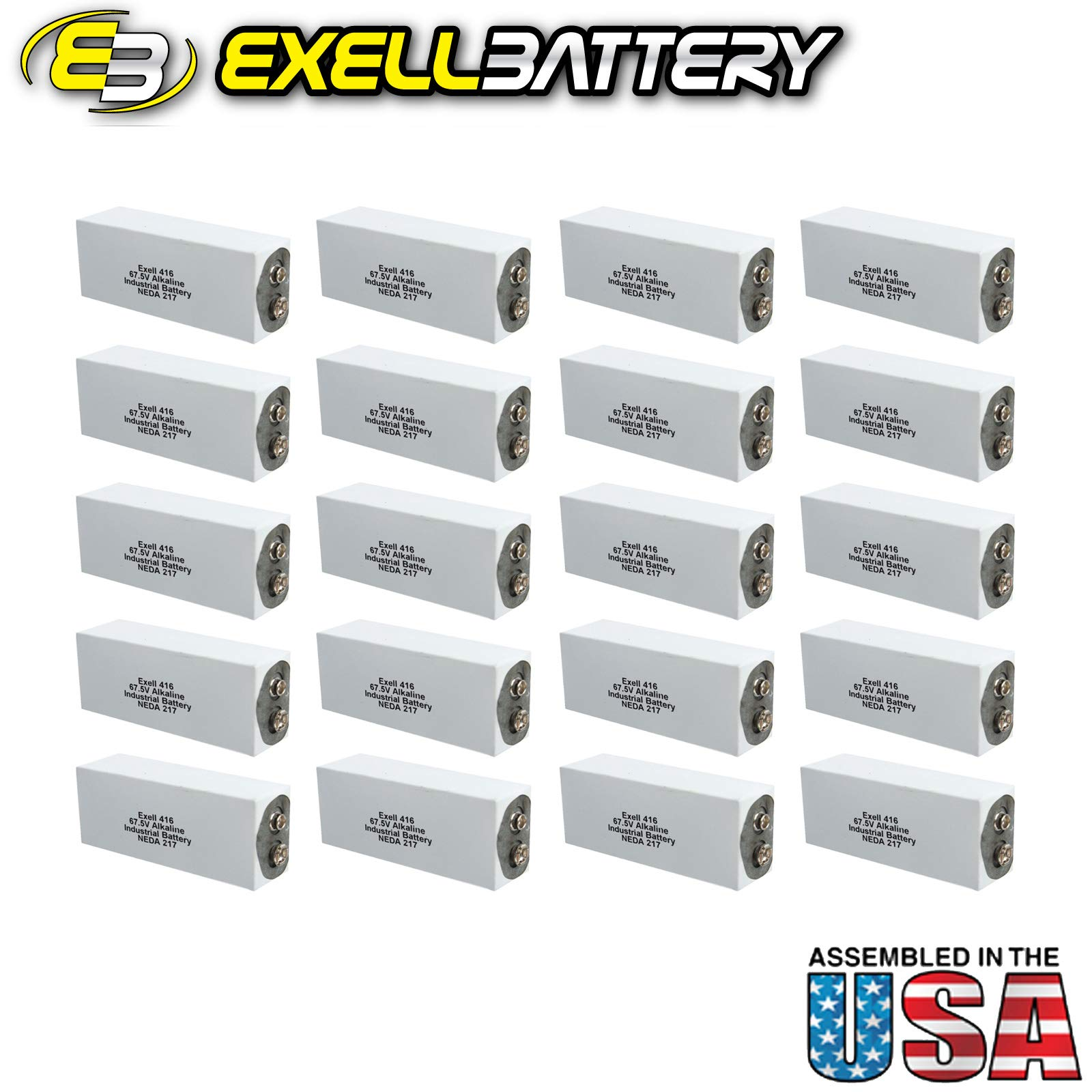 20pc Exell 416A Alkaline 67.5V Battery NEDA 217, A416, ER-416