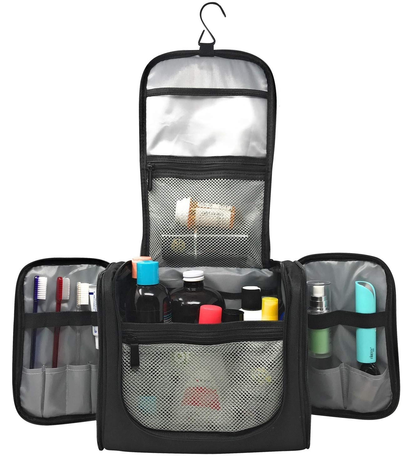 Large Capacity Hanging Toiletry Bag Water Resistant Machine Washable Organizer for Men and Women Spacious Compact Kit Strong Zippers, Sturdy Hook Handle 17 Compartments Travel and Home