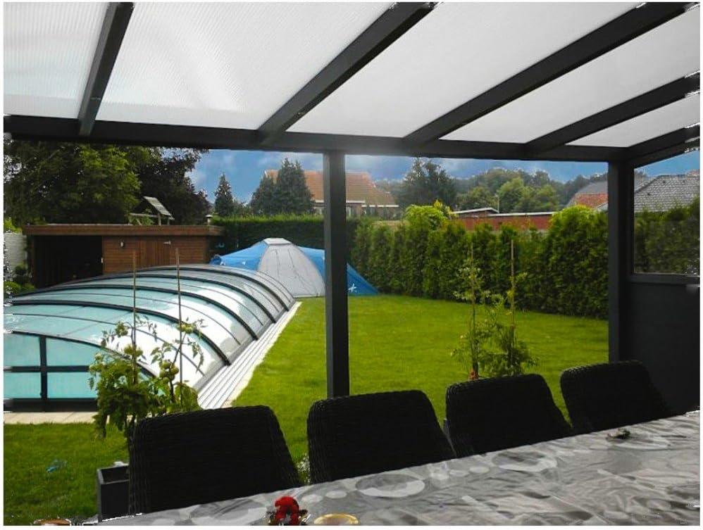 Terrazas überdachung aluminio 300 x 250 cm con policarbonato huecas. 16 mm techo de una cobertura prikker-überdachungen: Amazon.es: Jardín