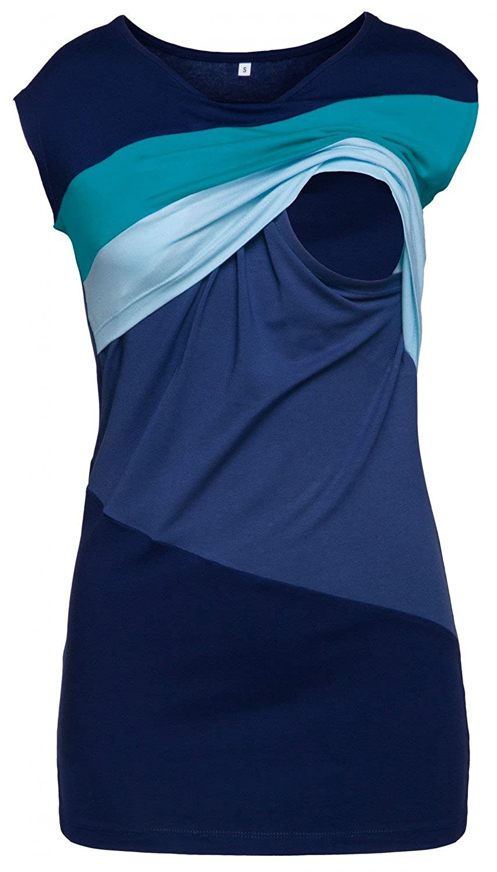 369p HAPPY MAMA Womens Nursing Double Layer Top Colour Block Design Pregnancy