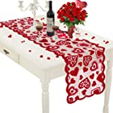 Mosoan Valentines Day Table Runner - Red, 13 x 72Inch - Lace Table Runner for Wedding Party, Valentines Decorations - Home He