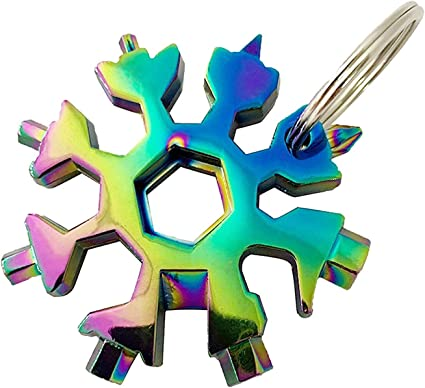 3X Edelstahl Schneeflocke Multitools Schlüsselbund 18 in 1 Schneeflockenwerkzeug