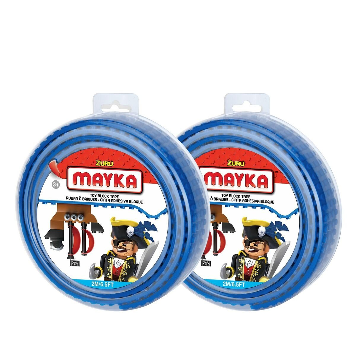 Mayka Toy Block Tape 4 Stud Blue 6 Feet 2 Pack Compatible Lego Blok Creative Toys Isi 100 Pcs