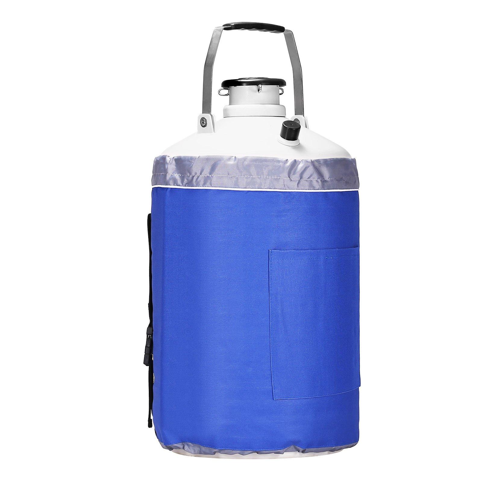 BestEquip Liquid Nitrogen Container Aluminum Alloy Liquid Nitrogen Tank Cryogenic Container with 3 Canisters and Carry Bag (10L)