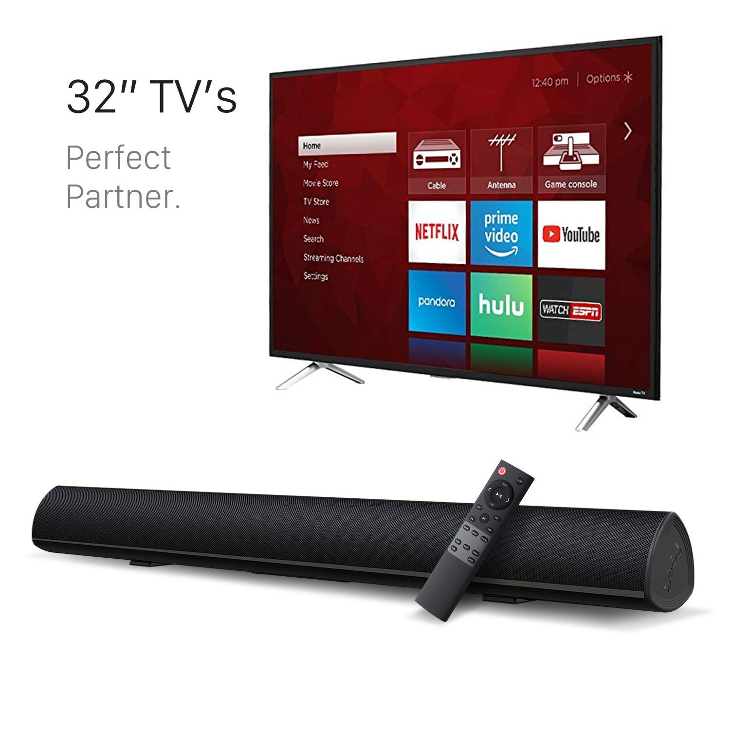 BYL Sound Bar Wireless Bluetooth and Wired Soundbar Speaker System(28'', Optical Cable Included, 3D Sound System, Remote Control with Learning Function, Wall Mountable) Updated Version by BYL
