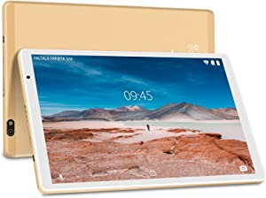 Tablet 10 Pulgadas FACETEL Android 10.0 Tablets RAM+64GB ROM, Tablets 5.0+8.0 MP HD la Cámara, Certificación Google,1280*800 Full HD Display | Bluetooth | WiF | GPS | FM-Oro