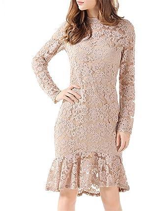 Dreamskull Damen Frauen Abendkleider Spitzenkleid Festkleid  Brautjungfernkleider Hochzeitskleid Knielang Elegant Festlich für Hochzeit  Spitze mit Ärmel af379b512e