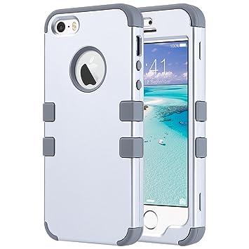 ULAK Caso del iPhone 5S, iPhone se Funda iPhone 5 Carcasa Cubierta Dura a Prueba de choques Dura de la Caja de la PC del silicón Suave de Alto Impacto ...