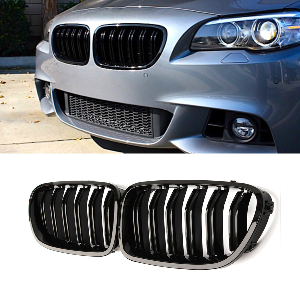 F10 Grille, Carbon Fiber Front Replacement Kidney Grill for BMW 5 Series F10 Gloss Black Qitian