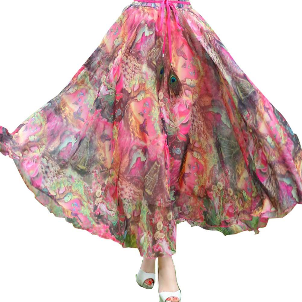 Ashir Aley Woman's Floral Bohemian Flowy Chiffon Long Maxi Skirt (XL,Red)
