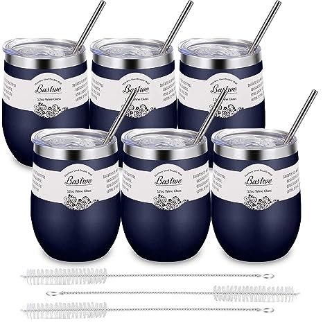 Amazon.com: 6 vasos de vino sin tallo de acero inoxidable ...