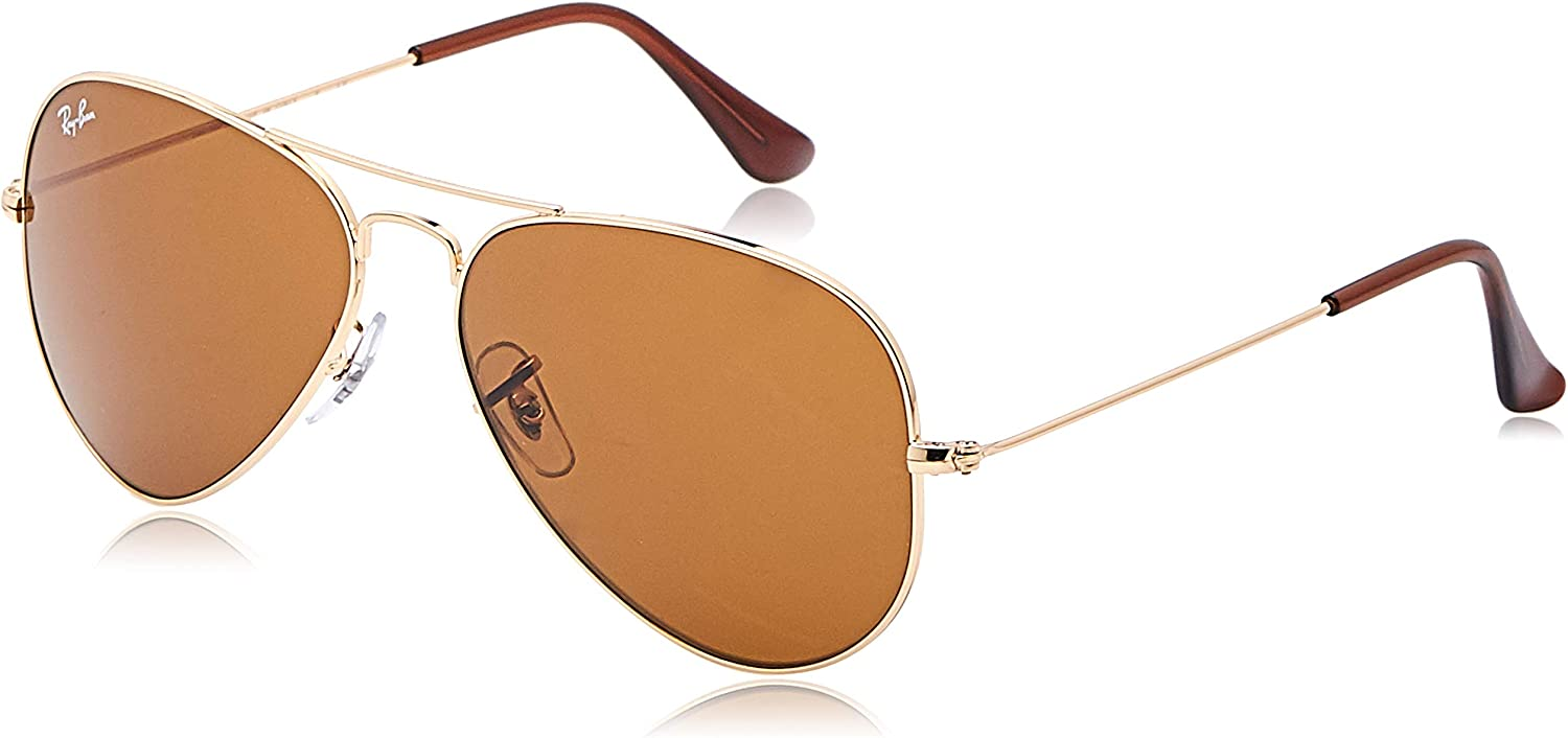 Ray-Ban Aviator Large Metal, Gafas de Sol Unisex Adulto, Dorado (Crystal Brown & Silver Gradient Mirror), 58