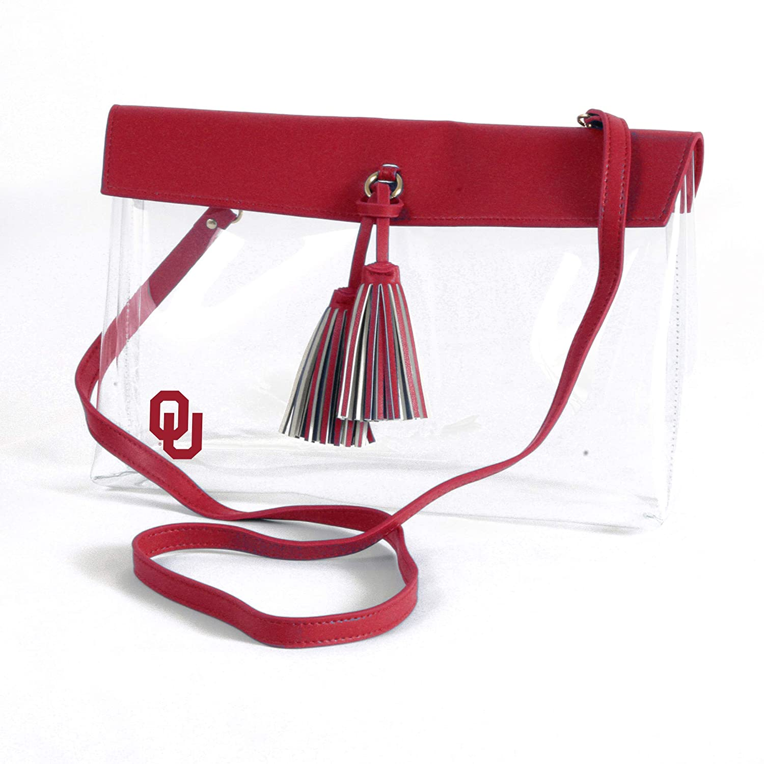 Desden Oklahoma Sooners Clear Handbag and Wristlet Combo with Logo Vegan Leather Trim and Tassels