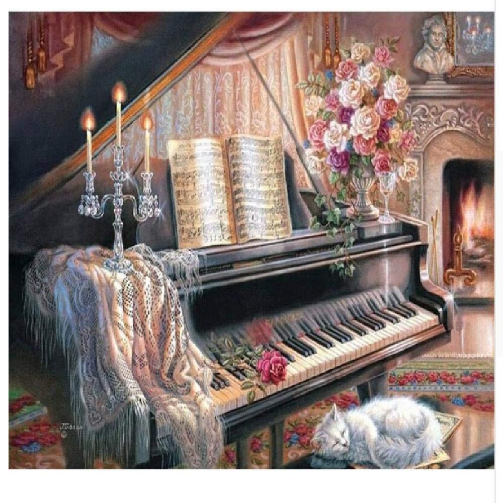 100x180cm  jjyyh Peintures par Numéros Piano Et Fleurs 100X180Cm Bricolage Peinture à l'huile Linen Toile pour Adultes Les Enfants Débutants des Gamins' Jouet Numéros Peinture par Décoration Murale