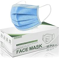 Hotodeal 50 Pcs Disposable Face Masks, Breathable Face Mask 3 Layer Protection Facemask, Lightweight Dust Protective…