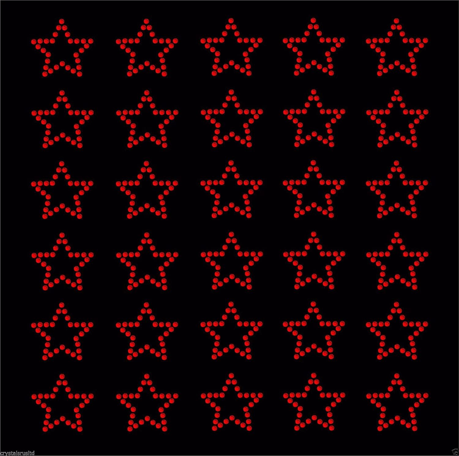 30//étoiles thermocollant Strass Cristal Perle Gem Bling Red
