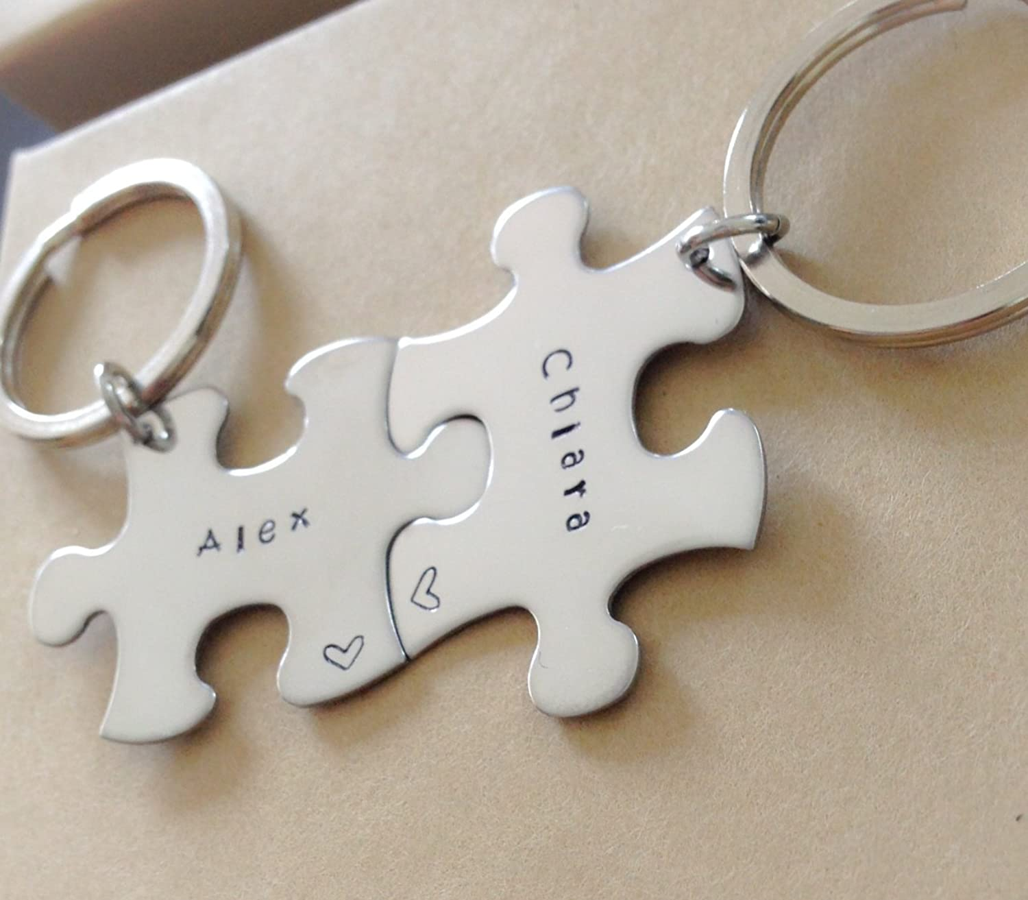 Amazon.com: Personalized Key chain - Key chain puzzle piece ...