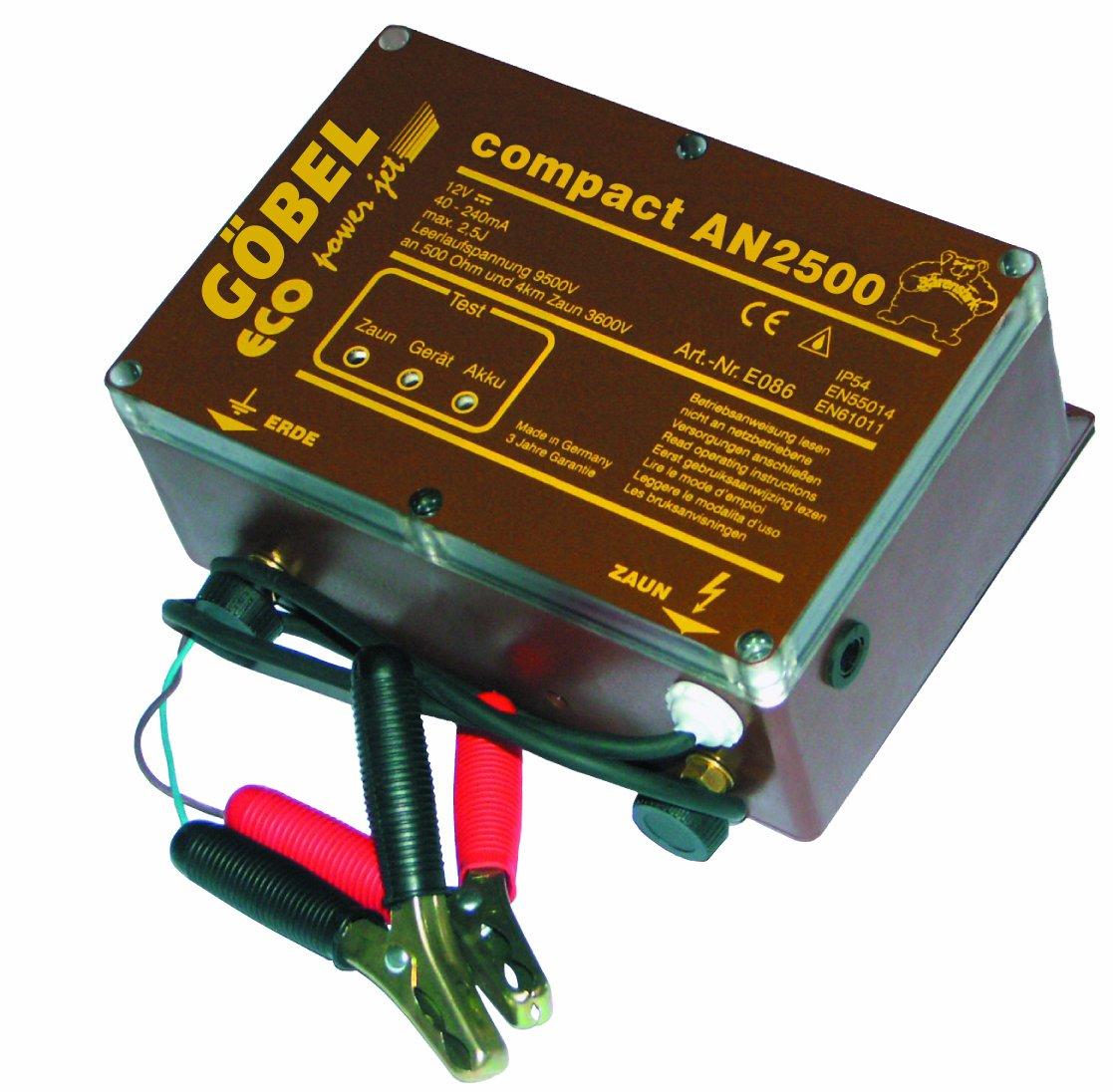 Göbel Weidezaungerät Kombigerät Compact AN 2500 bis 30km Zaunlänge 2,00J 12V 230V