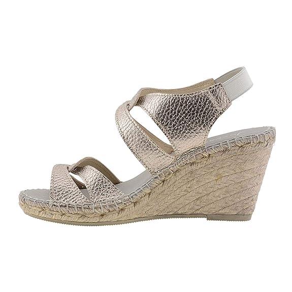 Alpargatas tacón Alto Piel Metalizada Bronce: Amazon.es: Zapatos y complementos