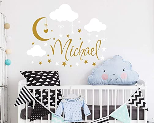 Name Wall Decal Boy Clouds Nursery Decals Moon Decal Stars Wall Vinyl Sticker. Name For Son's Nursery Wall Decor. Baby Name Wall Decal F69