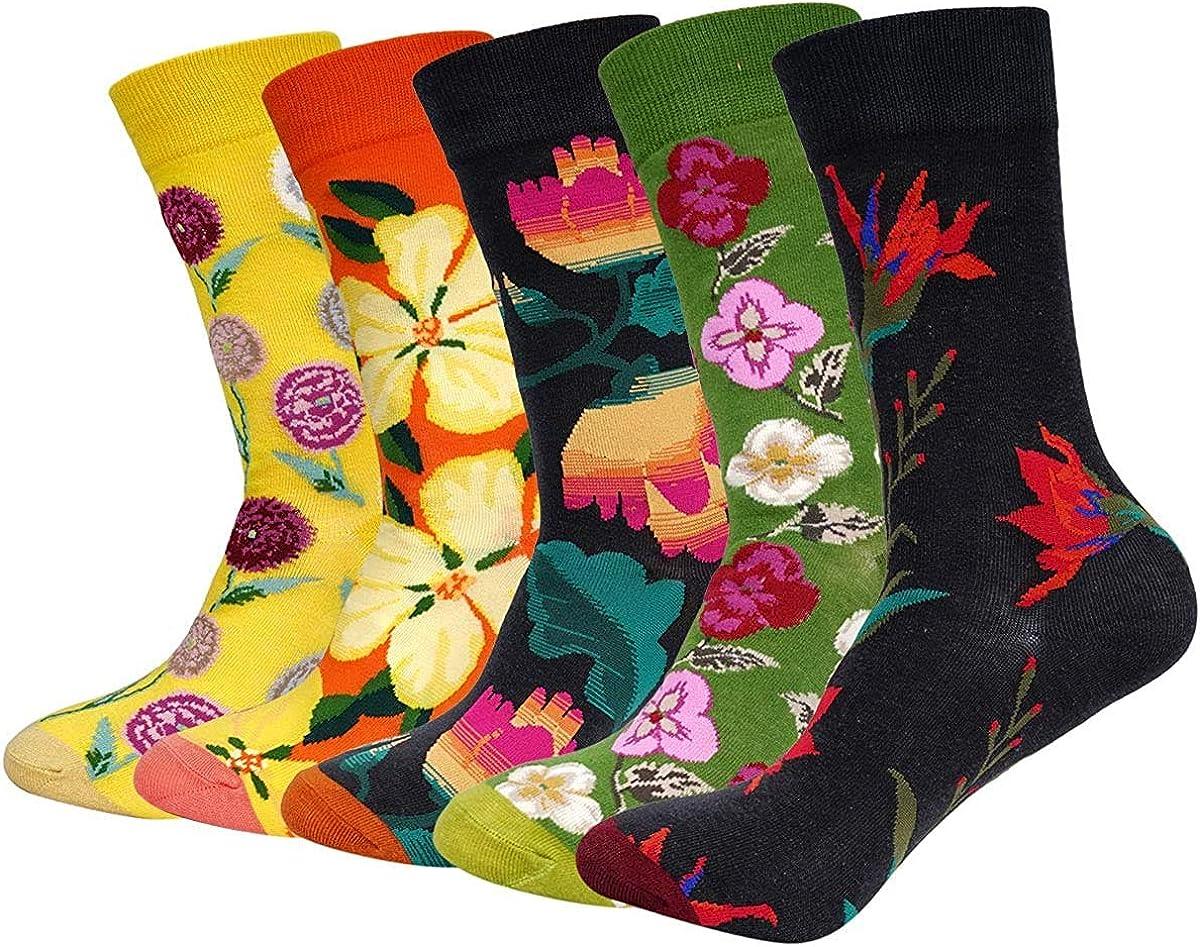 NALCY 5PCS Se/ñoras Calcetines Florales Coloridos Calcetines de Algod/ón Suaves y C/álidos Medias Calcetines Casuales de Impresi/ón Creativa para Mujeres