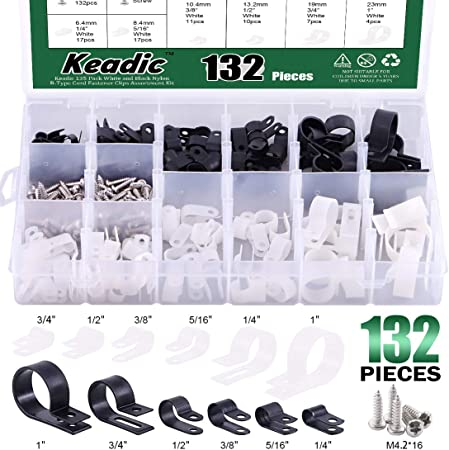 "200Pcs Nylon R Type 1//2/"" 13.2mm Cable Cord Wire Clamp Clip Fastener White"