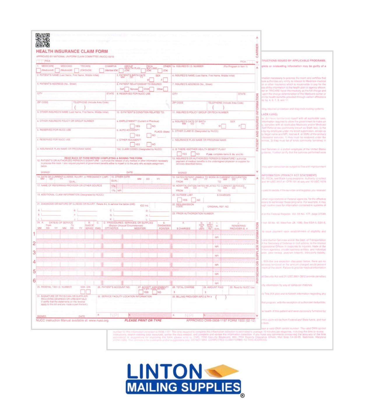 Health Insurance Claim Forms, New CMS-1500, HCFA (04/14 Medicare Approved 02/12 Version), 1-Part, 8.5'' x 11'' 24-lb Paper - 1 CASE of 2500 Sheets/Forms by LINTON MAILING SUPPLIES