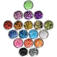 Nail Glitter 18 Boxes Nail Art Flakes Hexagon Confetti Glitter Chunky Glitters for Hair Face and Eye Make Up Foil Flakes for Slime (18 Colors, Mini Hexagons)