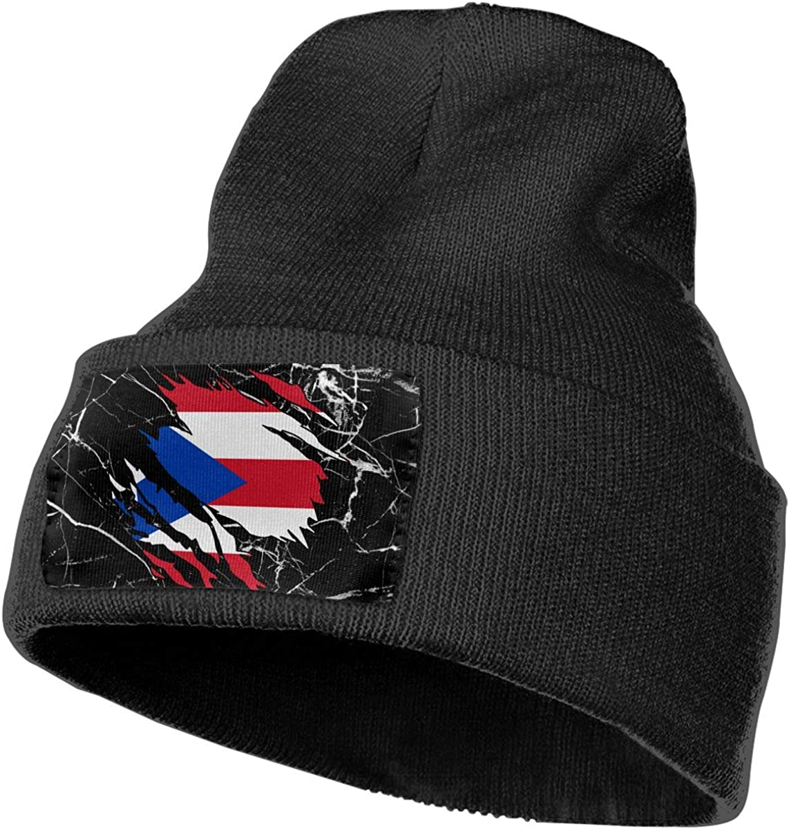 Ripped Puerto Rico Flag Unisex Solid Color Knit Beanie Hat Stretchy /& Soft Winter Ski Knit Cap