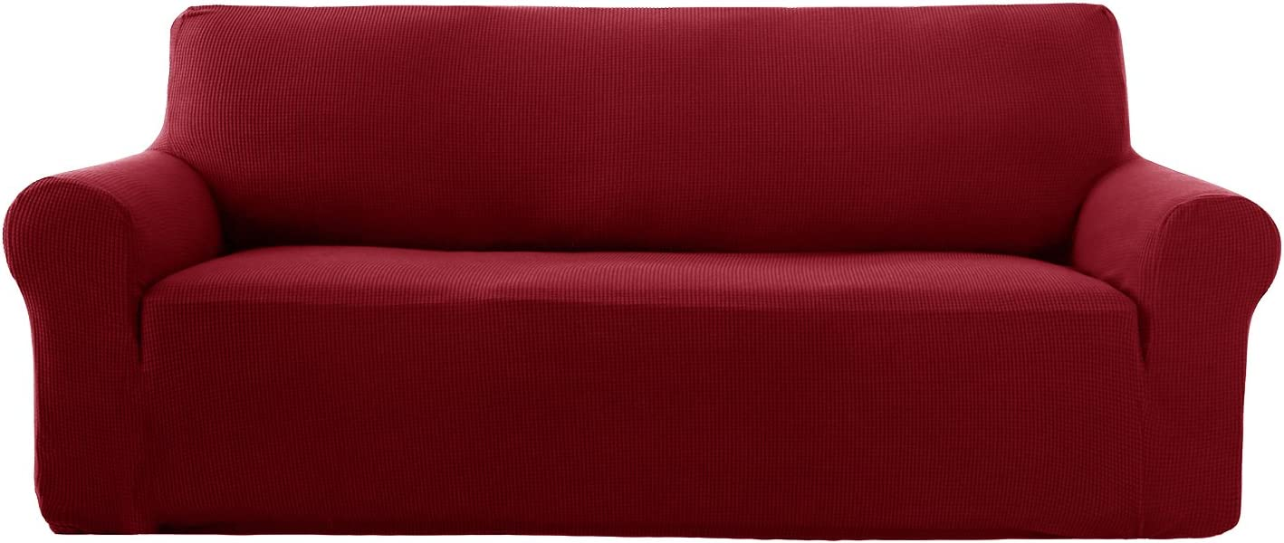 Deconovo Stretch 3 Seater Sofa Cover with Anti Slip Foams 1 Piece Jacquard High Stretch Sofa Slipcover Protector for Dogs Cats Wine Red