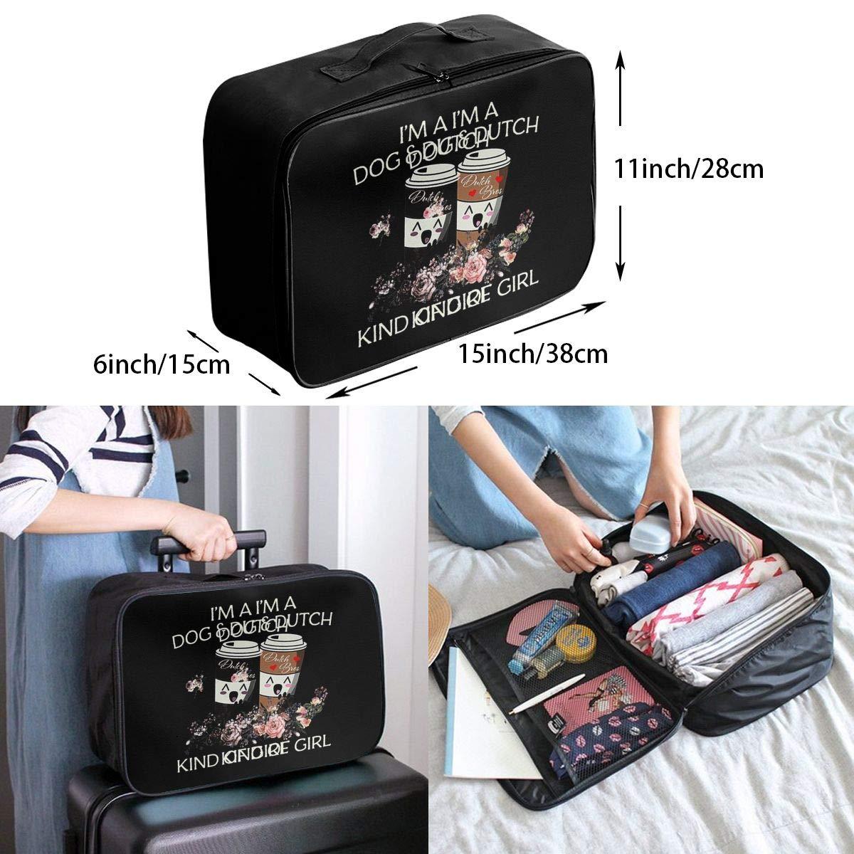 Fretlo Im A Dog Dutch Travel Duffel Bag Waterproof Lightweight Large Capacity Portable Luggage Bag Black