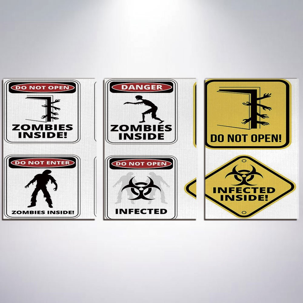 3 Panel Canvas Prints Wall Art for Home Decoration Zombie Decor Print On Canvas Giclee Artwork For Wall DecorWarning Signs for Evil Creatures Paranormal Construction Do Not Open Artwo