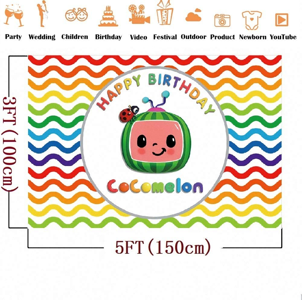 Children Cartoon DIY Photo Booth Backdrops Props Cartoon Cocomelon Family Theme Photography Background Backdrop Banners Baby Shower Portrait Photo Backdrop Color Stripes YouTube Photography Backdrop