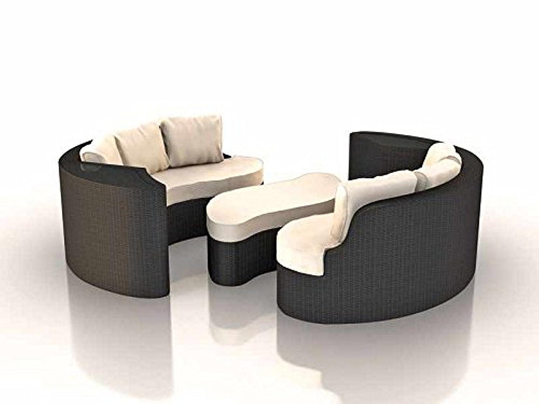 Rattaninsel EMMI grau Lounge Liegeinsel Sofa Garnitur Sitzecke Sitzgruppe Tisch Bank Stuhl Insel Gruppe Esstisch Sitzgruppe Liege Sonnenschutz Segel