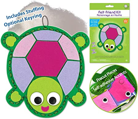Turtle Sewing Kit for Kids Girls Boys Preschool Sewing Kits Projects Animal Sewing Kits for Kids Craft Kits for Kids Sewing Kit Art Projects for Kids Felt Animals Sewing for Beginners Spring Craft