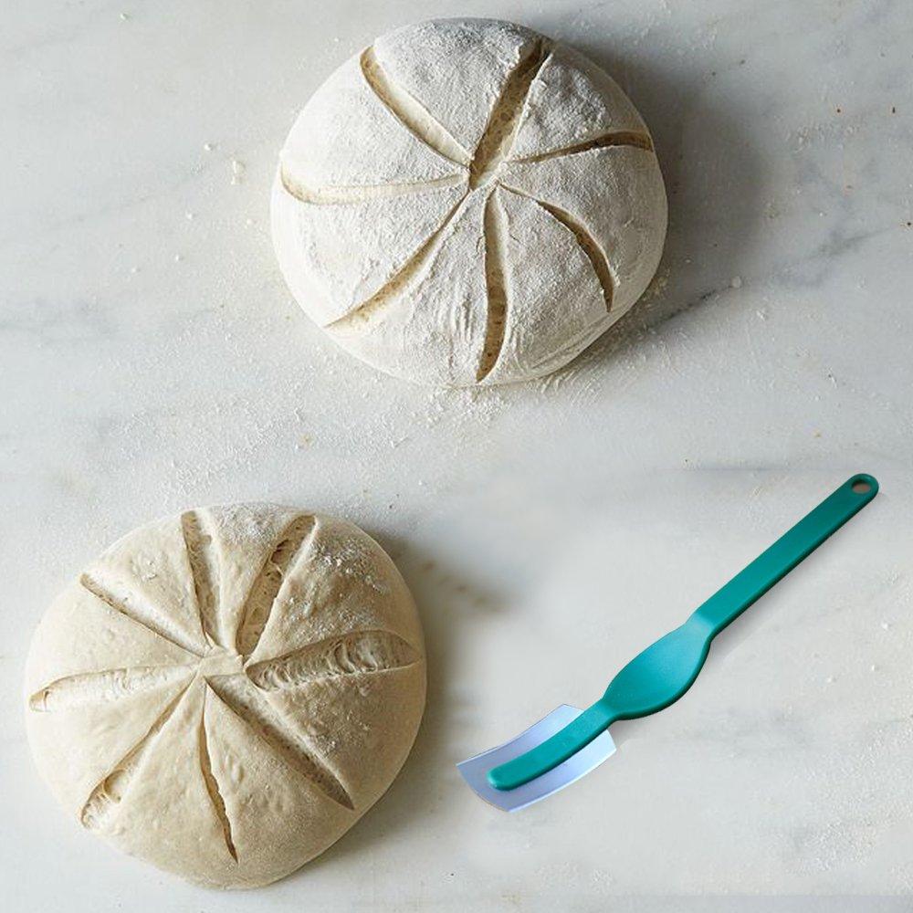 M JINGMEI Banneton Proofing Basket 10'' Round Banneton Brotform for Bread and Dough [Free Brush] Proofing Rising Rattan Bowl(1000g Dough) + Free Liner + Bread Lame by M JINGMEI (Image #5)
