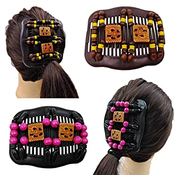 Fashionable Lady Wood Double Hair Comb Clip Stretch Easy Beaded Hair Jewelry