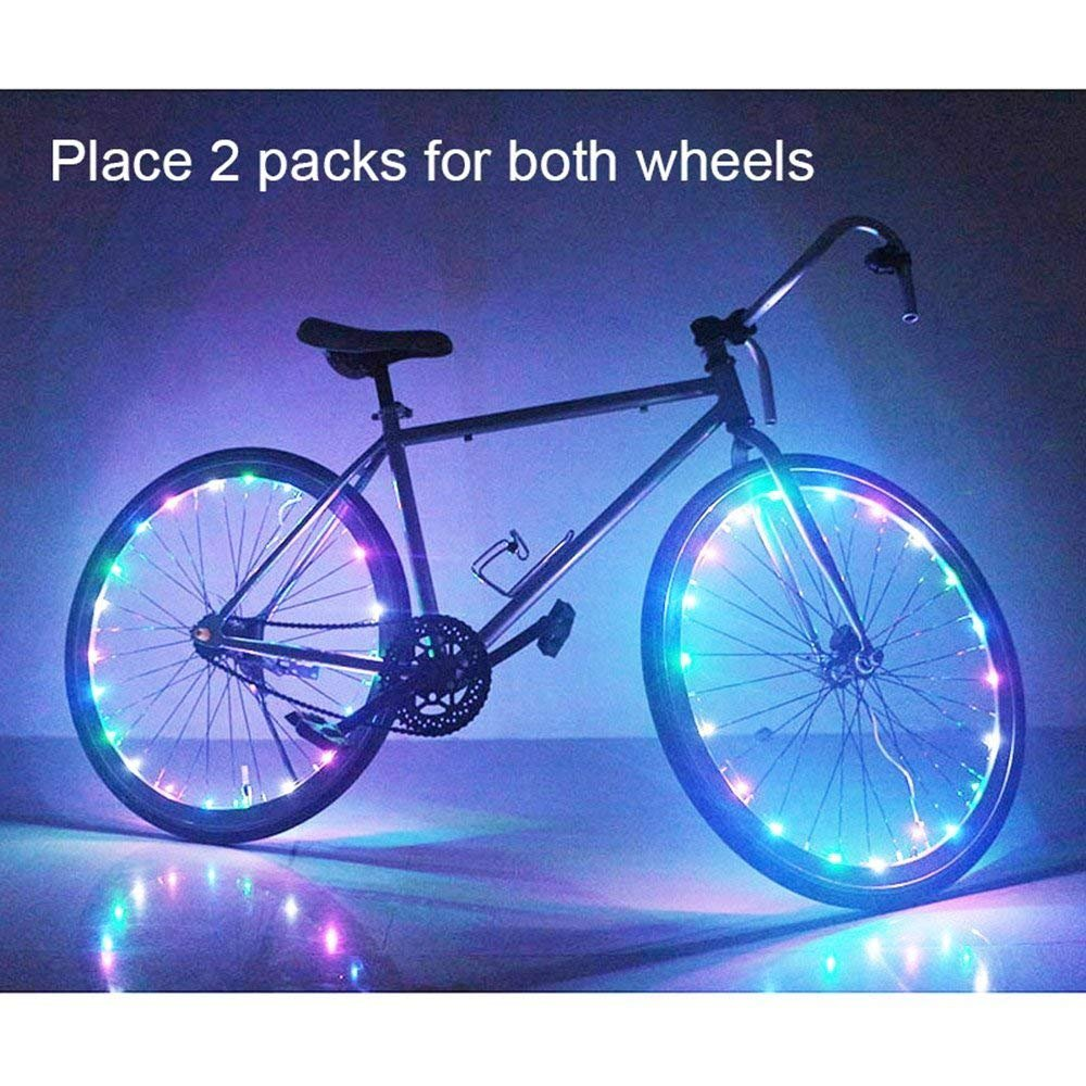 2 Pack Waterproof Bright Bicycle Tire Light Strip, Safety Spoke Lights, Cool Bike Accessories, Light Up Wheels, Safer Bicycle Spokes & Rims Light - Easy to install, No tools Needed,(2 Tiers Pack) by Cozy Homy (Image #2)