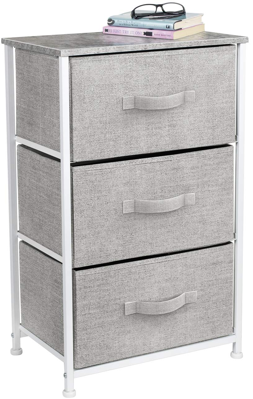 Sorbus Nightstand with 3 Drawers - Bedside Furniture & Accent End Table Storage Tower for Home, Bedroom Accessories, Office, College Dorm, Steel Frame, Wood Top, Easy Pull Fabric Bins (Gray)