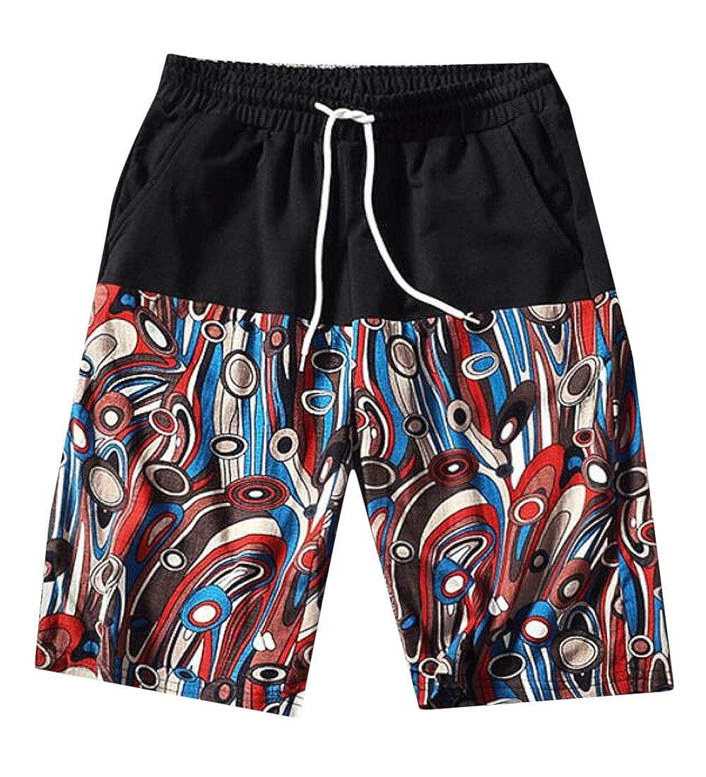 YYear Men Elastic Waisted Summer Print Stitching Beach Shorts Boardshort Swim Trunk