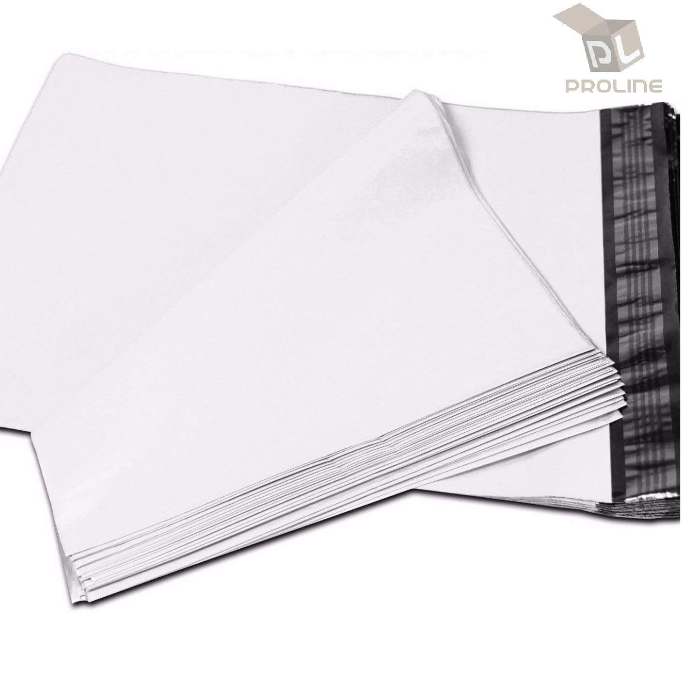 19 x 24 inch ProLine Packaging Supplies White Poly Mailers Self-Sealing Shipping Envelopes Plastic Mailing Bags 2.5 Mil Thickness 19''x24'' (100)