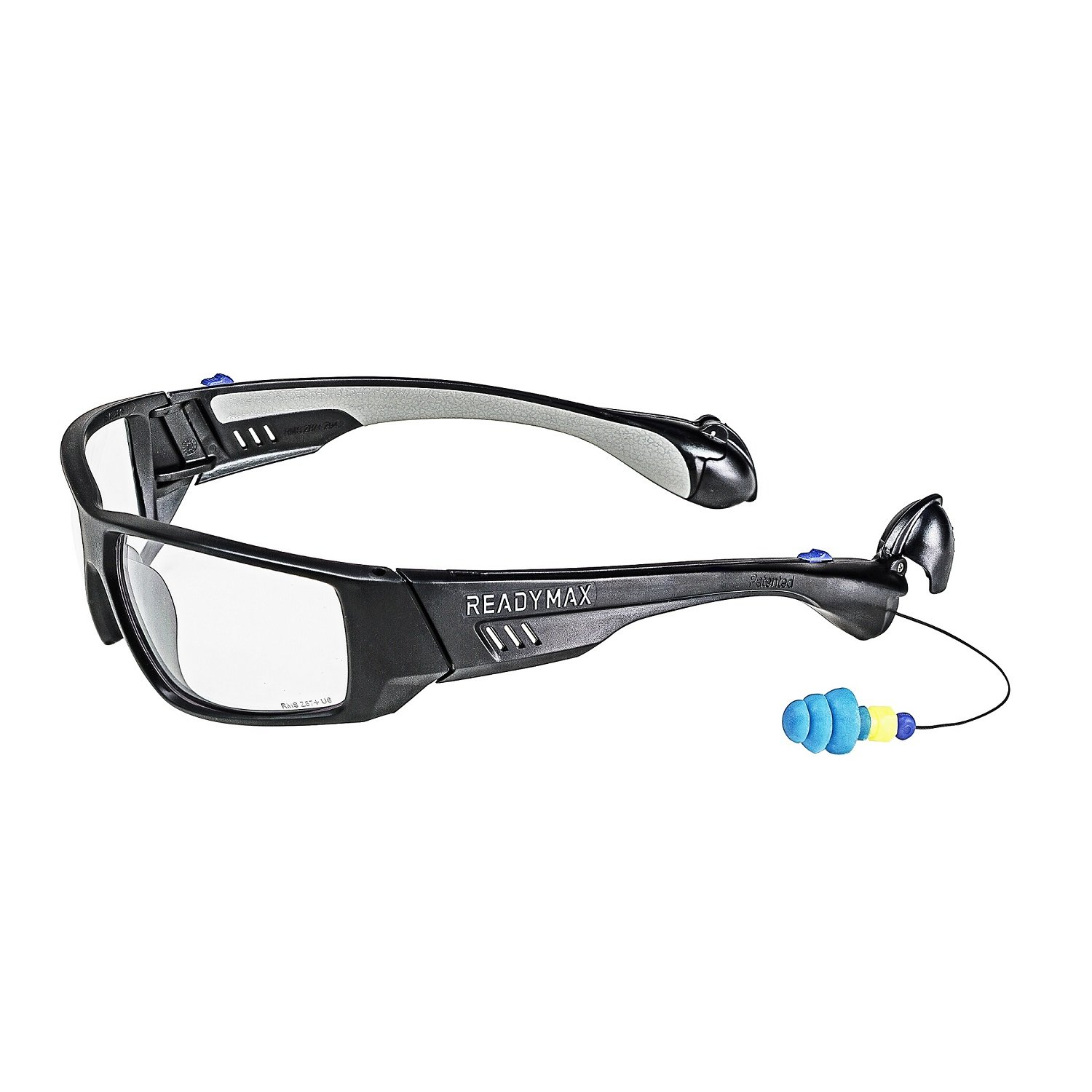 ReadyMax SoundShield Fashion Style, Matte Black Frame, Clear Anti-Fog, Scratch Resistant Safety Glasses w/Built in Hearing Protection by SoundShield