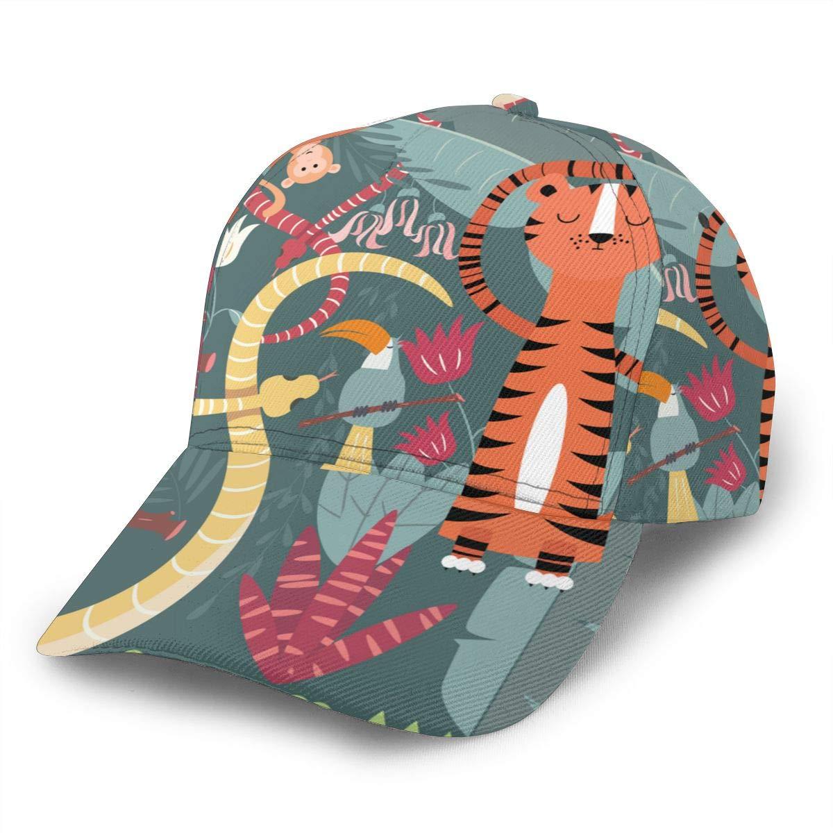 Cute Rain Forest Animals Man Fashion Adjustable Flat Brim Baseball Cap Black