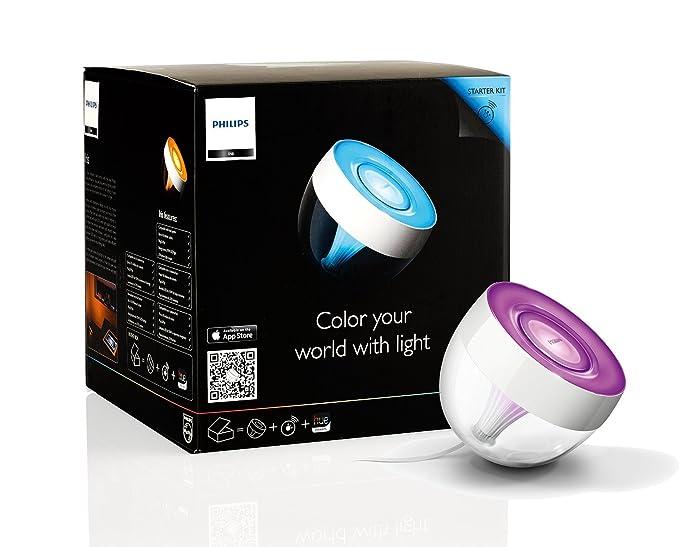 Philips LivingColors Iris - Lámpara de mesa LED, luz de ambiente, 16 millones de colores, color transparente