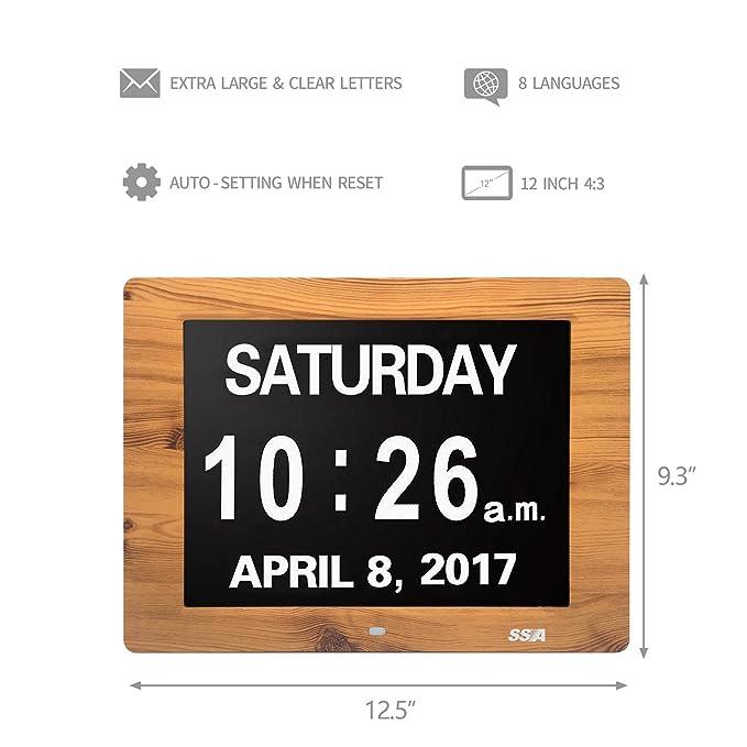 SSA Reloj digital de día calendario con gran tiempo de claridad Día y fecha de visualización, colgante de pared o escritorio / reloj de plataforma ideal ...